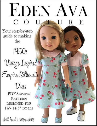 "1950s Empire Silhouette Dress 14-14.5"" Doll Clothes Pattern"
