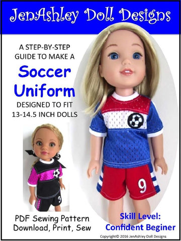 "Jen Ashley Doll Designs WellieWishers Soccer Uniform 13-14.5"" Doll Clothes Pattern Pixie Faire"