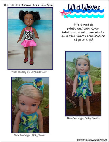 "Wild Waves One-Piece Skirted Swimsuit 14.5"" Doll Clothes Pattern"