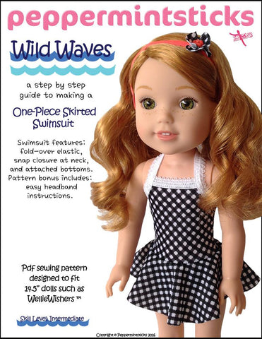 "Peppermintsticks WellieWishers Wild Waves One-Piece Skirted Swimsuit 14.5"" Doll Clothes Pattern Pixie Faire"