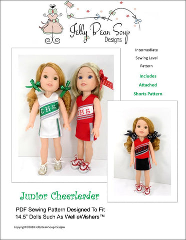 "Jelly Bean Soup Designs WellieWishers Junior Cheerleader 14.5"" Doll Clothes Pattern Pixie Faire"
