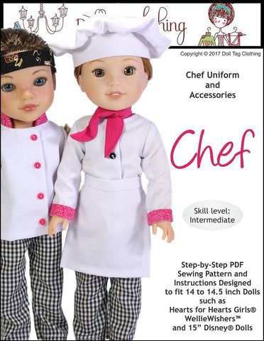 Doll Tag Clothing WellieWishers Chef Uniform Pattern for 14 to 14.5 Inch Dolls Pixie Faire