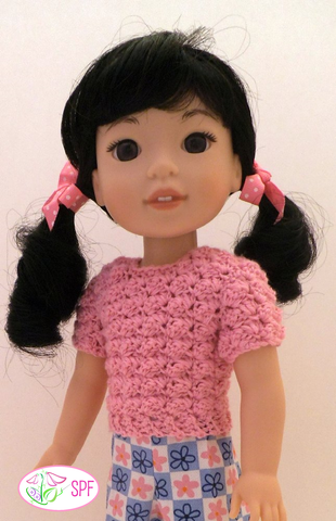 "Cobblestone Sweater Crochet Pattern for 14-14.5"" Dolls"