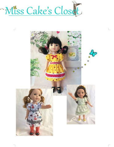 "1960's Contrasting Bands School Dress 14-14.5"" Doll Clothes Pattern"