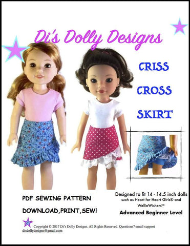 "Criss Cross Skirt 14-14.5"" Doll Clothes Pattern"