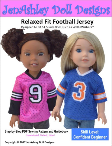 "Jen Ashley Doll Designs WellieWishers Relaxed Fit Football Jersey 14.5"" Doll Clothes Pattern Pixie Faire"