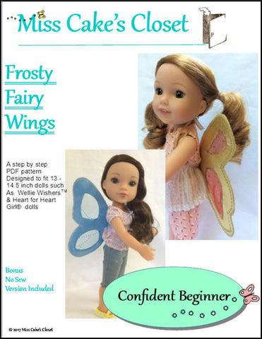 "Miss Cake's Closet WellieWishers Frosty Fairy Wings 13-14.5"" Doll Accessory Pattern Pixie Faire"