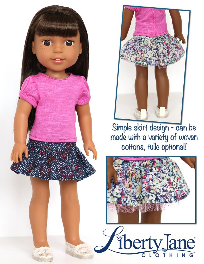 Liberty Jane Harajuku Station Tee And Skirt Doll Clothes Pattern For Delectable Wellie Wishers Clothes Patterns