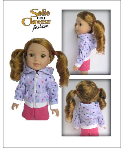 "Sofie's Hoodie Cardigan 14.5"" Doll Clothes Pattern"