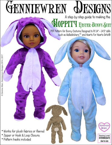 Genniewren WellieWishers Hoppity Bunny Suit 14-14.5 Inch Doll Clothes Pattern Pixie Faire
