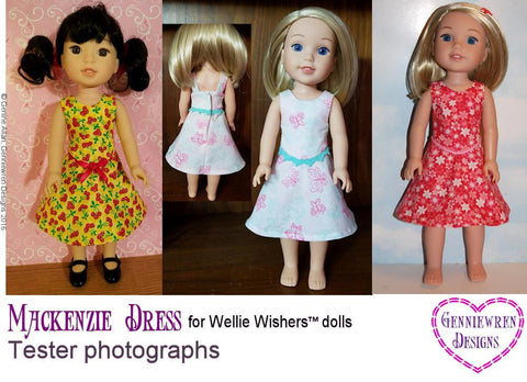 "Genniewren WellieWishers Mackenzie Dress 14.5"" Doll Clothes Pattern Pixie Faire"