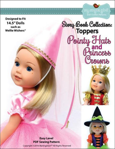 "Story Book Collection: Pointy Hat and Princess Crowns 14.5"" Doll Clothes Pattern"