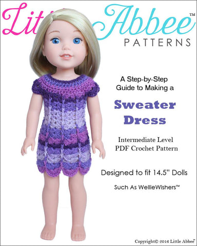 "Little Abbee WellieWishers Sweater Dress 14.5"" Doll Clothes Crochet Pattern Pixie Faire"