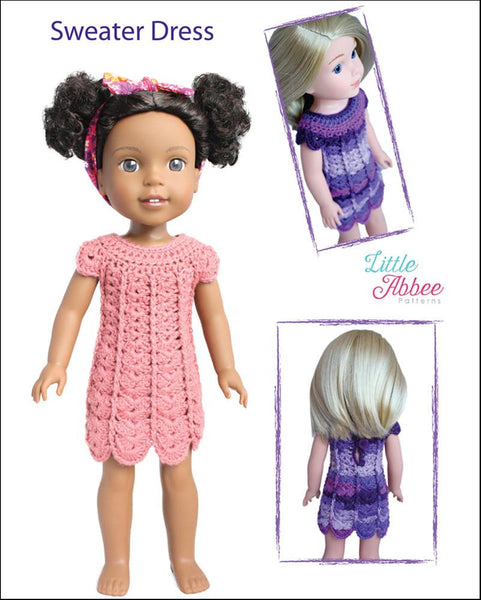 Little Abbee Sweater Dress Doll Clothes Crochet Pattern for WellieWishers P...