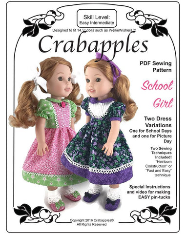 Crabapples WellieWishers School Girl 14-14.5 Inch Doll Clothes Pattern Pixie Faire