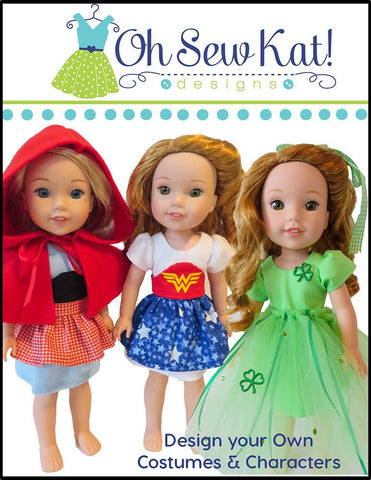 "Sugar n Spice & Everything Nice Dress & Pinafore with Dress Up Accessories 14.5"" Doll Clothes Pattern"