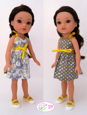 "Wrap & Tie Halter Dress and Top 14-14.5"" Doll Clothes Pattern"