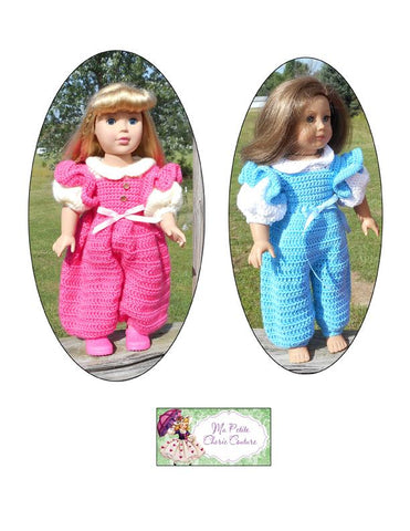 pdf doll clothes sewing pattern Zuri Romper designed to fit 18 inch American Girl dolls