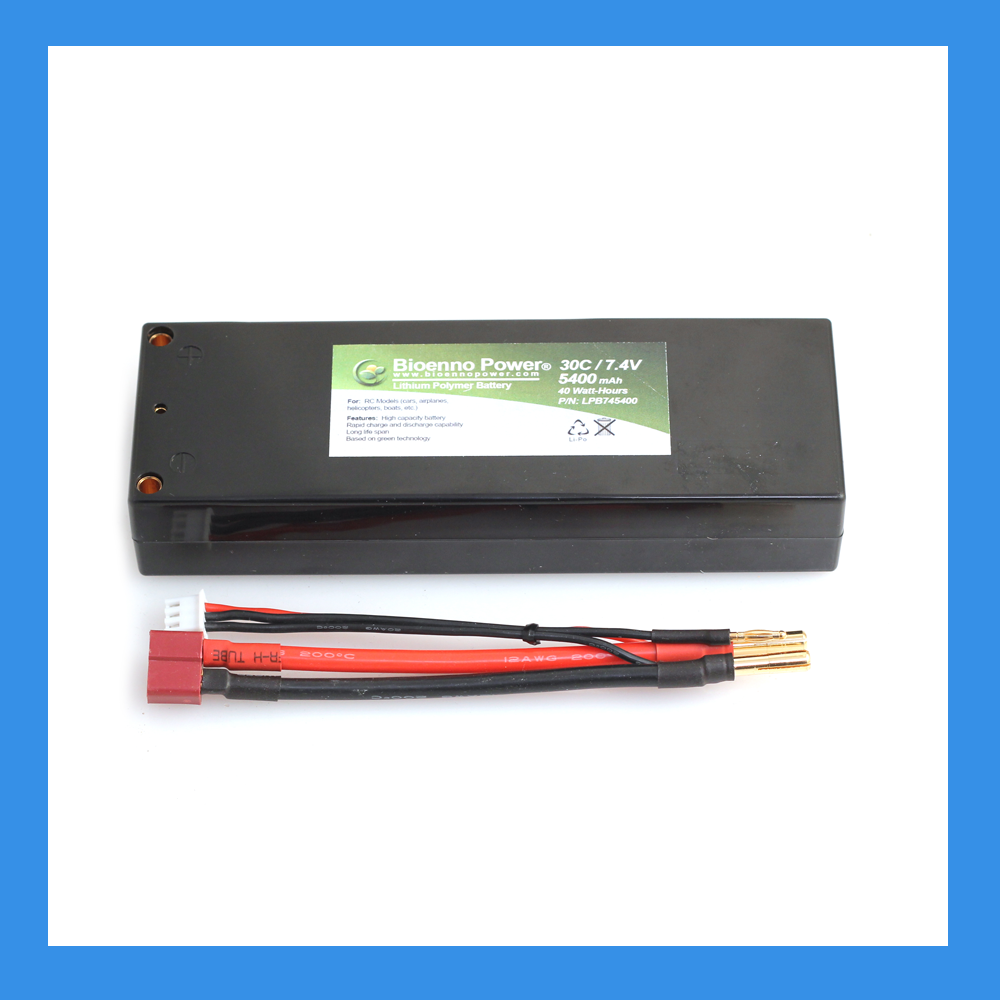 30C/50C, 7.4V (2S), 5400 mAh LiPo Battery (Hard Case, BLP-745400H)