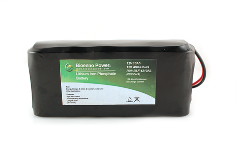 12V, 10Ah LiFePO4 Battery (Long Version) (BLF-1210AL PVC)