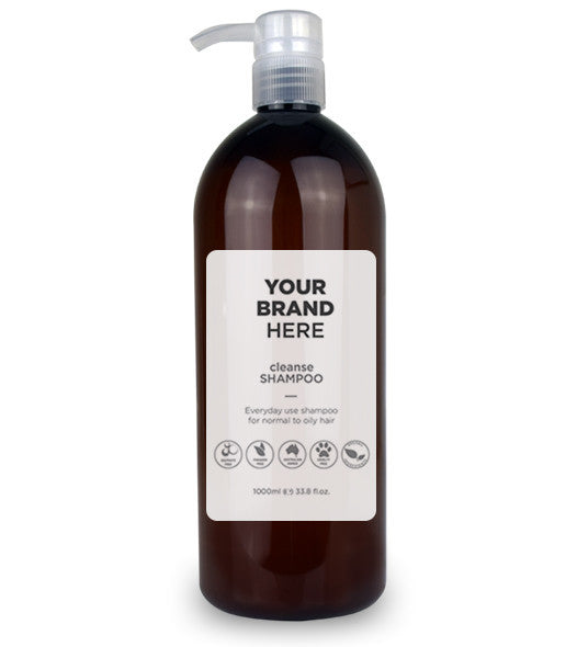 Private Label Cleanse Shampoo - Amber bottle 1,000ml / 33.8 fl.oz.