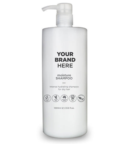 Private Label Moisture Shampoo - White bottle - 1,000ml / 33.8 fl.oz.