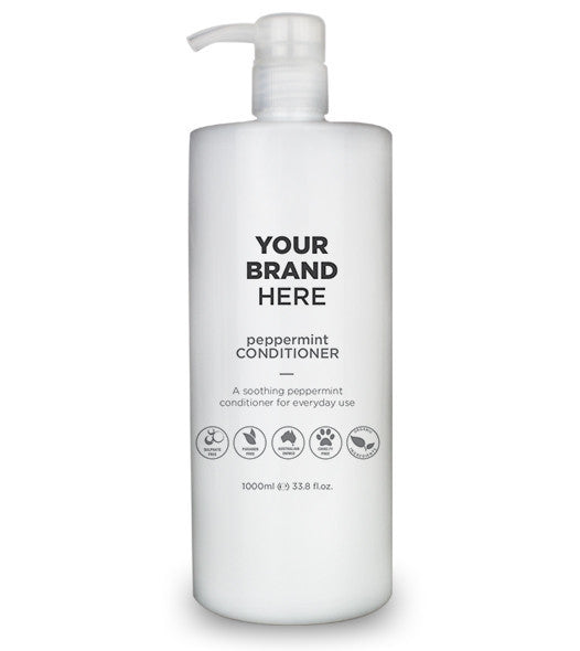 Private Label Mens Peppermint Conditioner - White Bottle - 1000ml / 33.8 fl.oz.