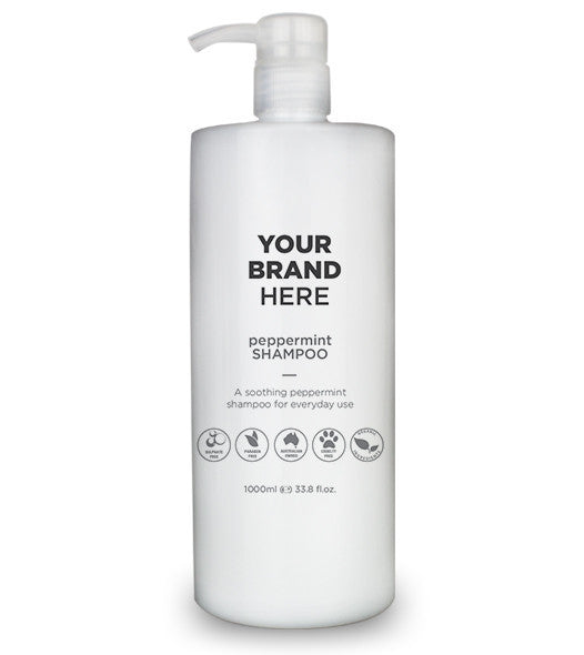 Private Label Mens Peppermint Shampoo - White bottle - 1000ml / 33.8 fl.oz.