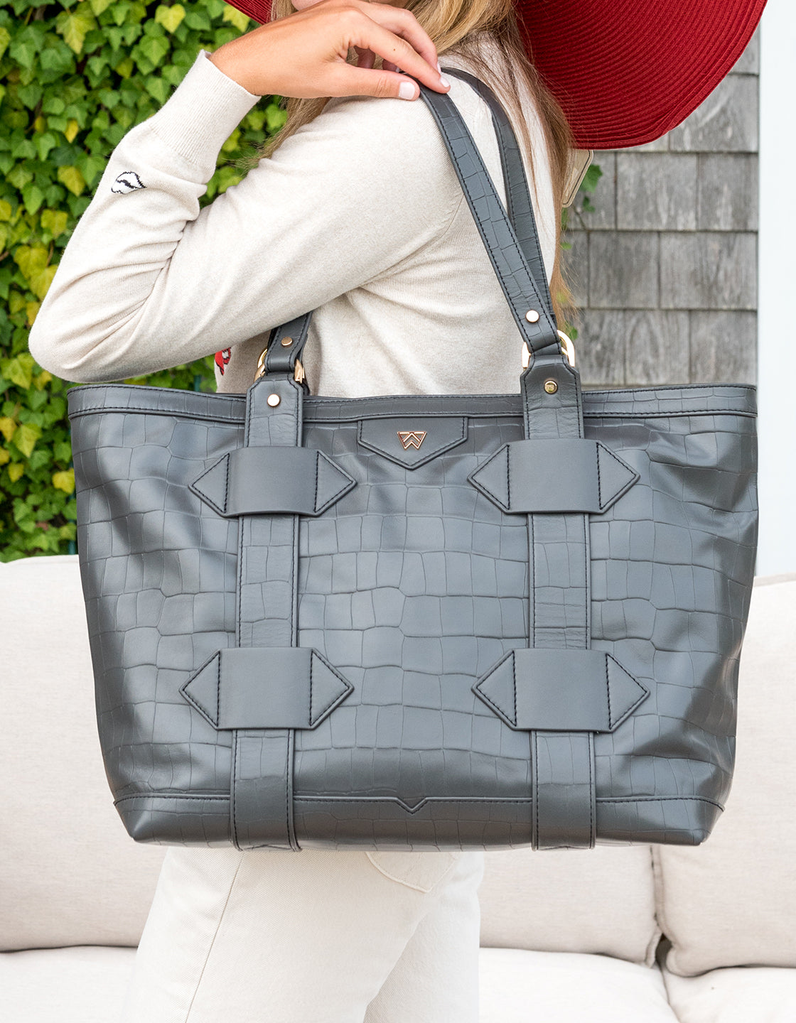 Leather Out of Town Tote in Grey Croco