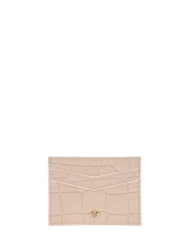 Cha Ching Card Case in Almond Croco