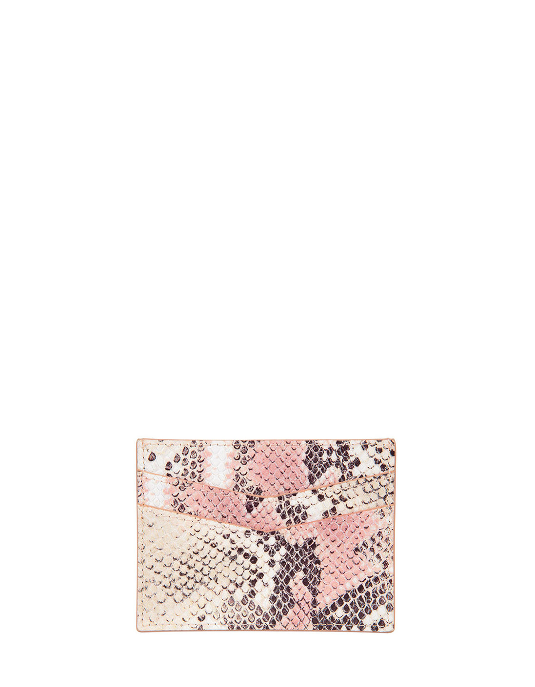 Cha Ching Card Case in Almond/Rose Multi Python