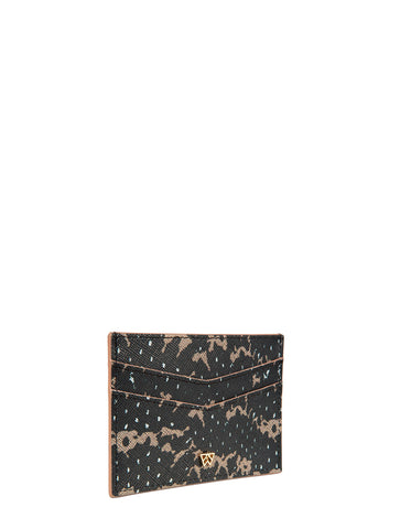 Cha Ching Card Case in Onyx & Almond Saffie