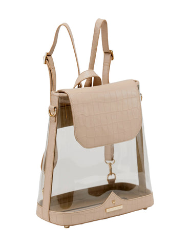 Clear BYOBackpack in Almond Croco