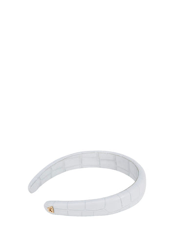 Best Hair Day Headband in White Croco