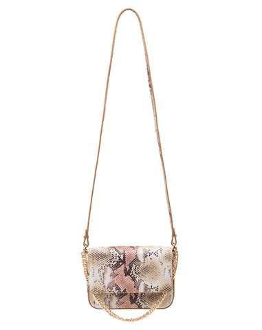 Kiss Kiss Crossbody in Almond/Rose Multi Python