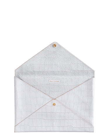 Medium All The Things Envelope in White Croco