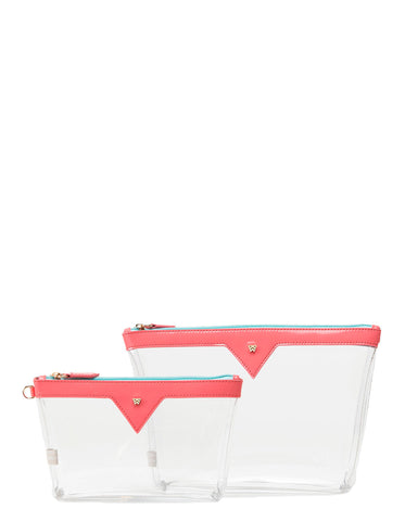 Vacation Please Pouch MEDIUM in Coral/Clear