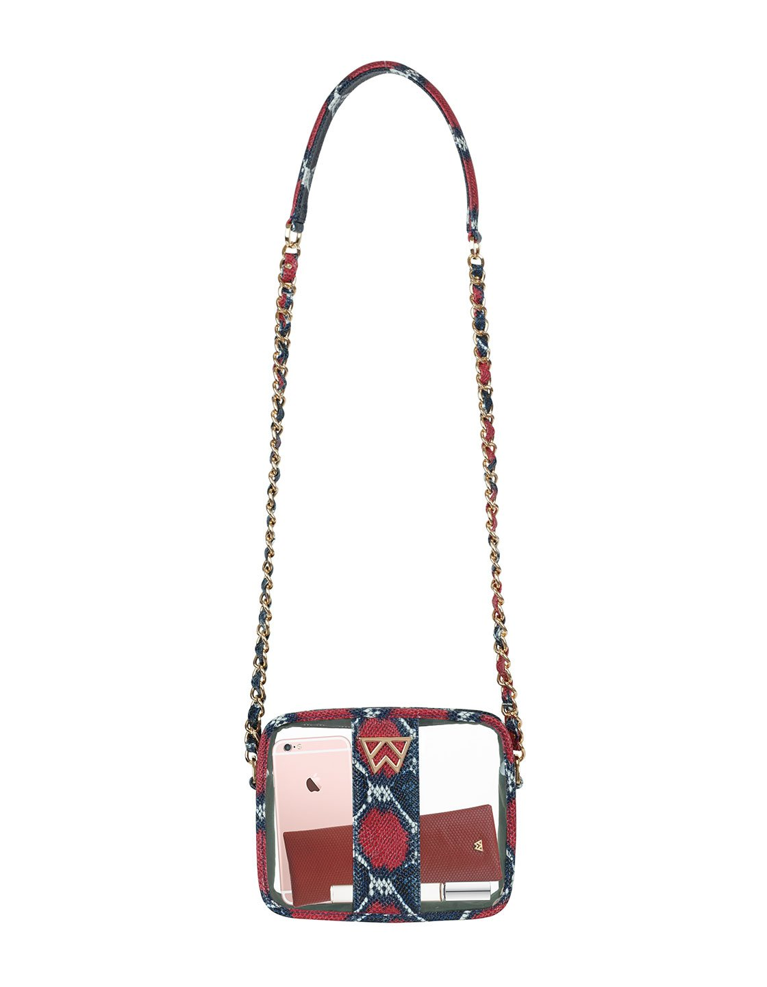 Clear Mingle Mingle Mini in Red/Navy Multi Python