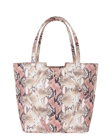 Paint The Town Tote in Almond/Rose Multi Python