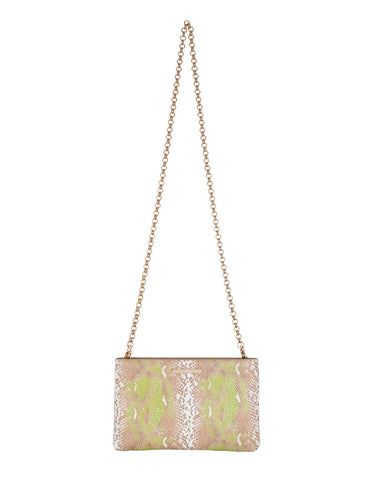 Risky Biz Wristlet in Almond/Lime Multi Python