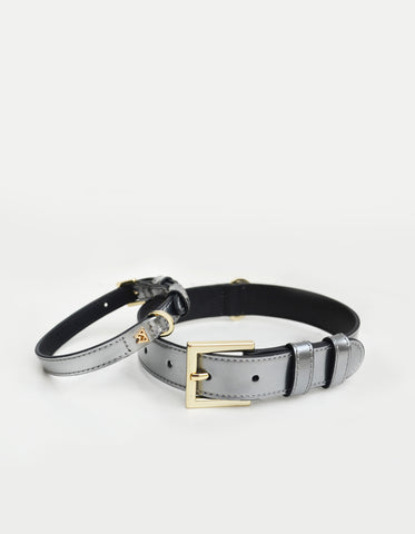 Cloud K9 Collar in Silver Patent