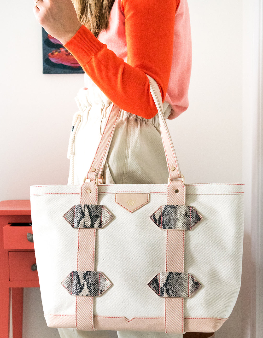 Small Out of Town Tote in Nude
