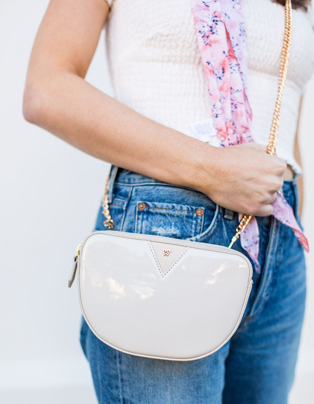 BRB Crossbody + Belt Bag in Milk Patent