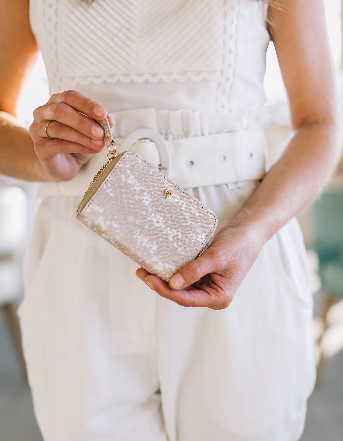 Money Maker Mini Wallet in Blush & Pearl Saffie