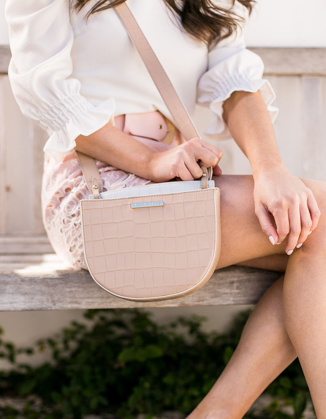 No Curfew Crossbody in Almond Croco
