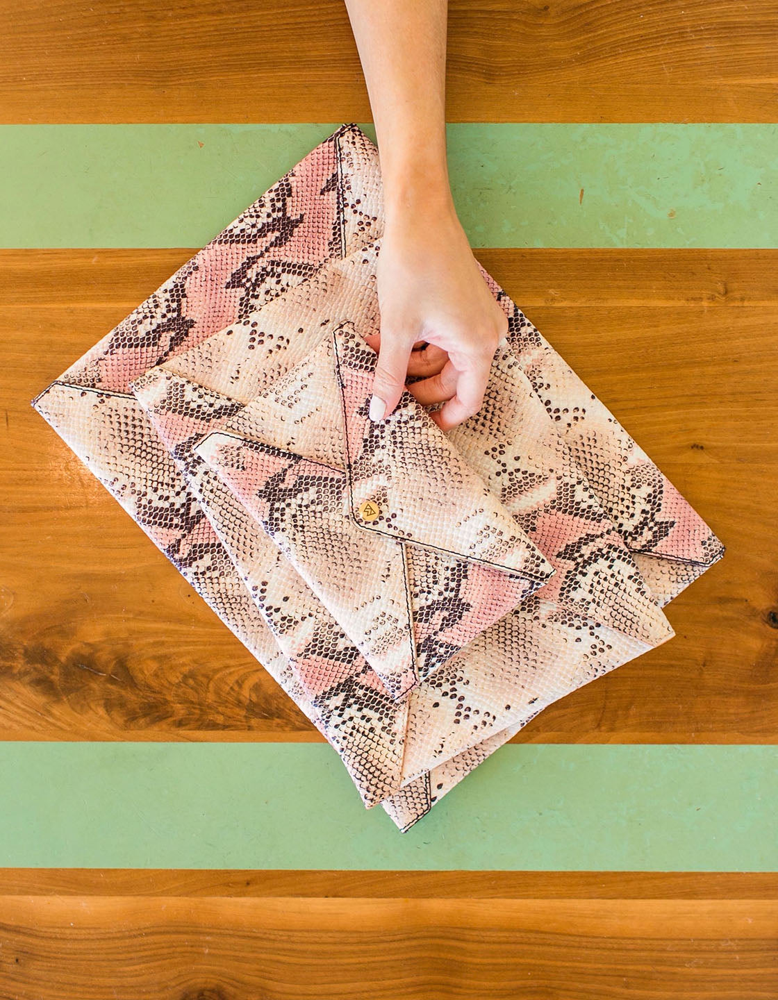 Medium All The Things Envelope in Almond/Rose Multi Python