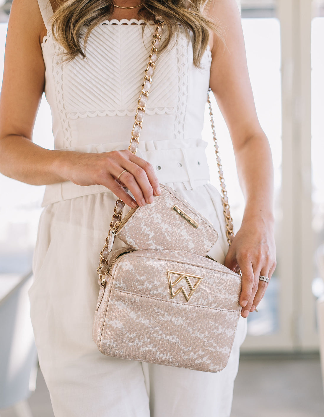 Sealed With A Zip Wallet in Blush & Pearl Saffie