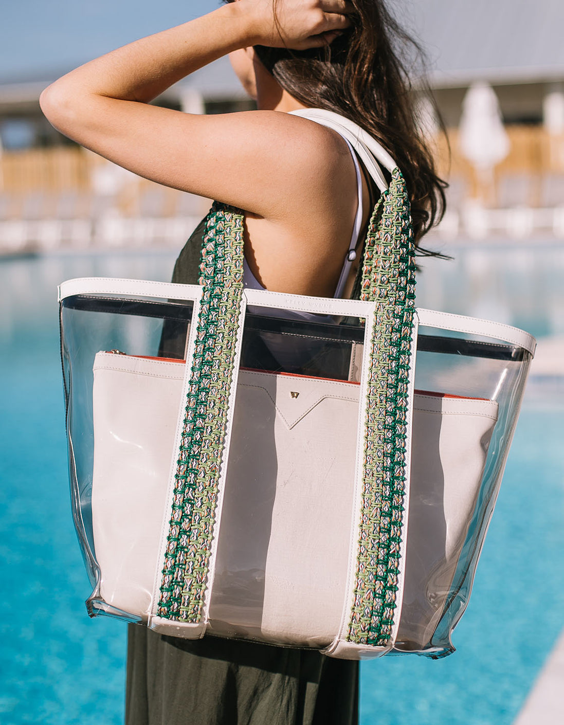 Bring on the Beach Bag in White/Grey
