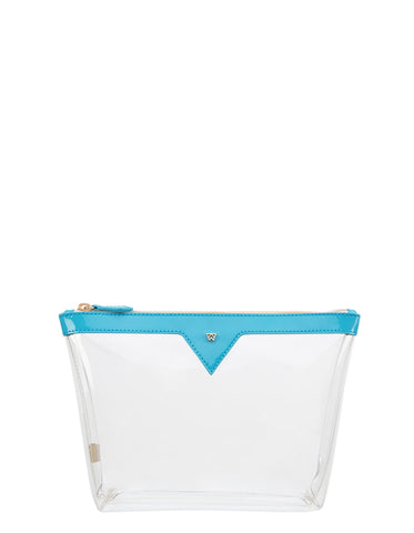 Vacation Please Pouch MEDIUM in Turquoise/Clear