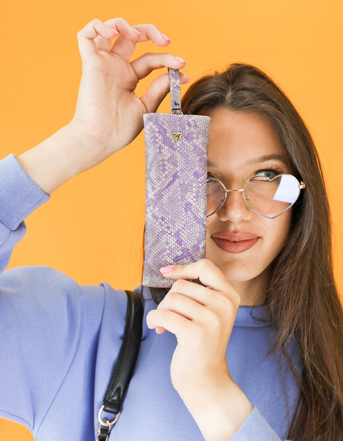 Privacy Pouch in Light Purple Python